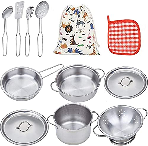 VIPAMZ My First Play Kitchen Pretend Cooking Toy Cookware Playset for Kids 11-Pieces Stainless Steel Pots and Pans Utensils-Dishwasher Safe