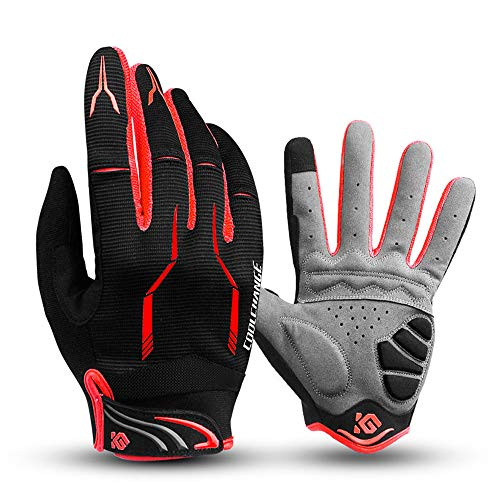 I Kua Fly Cycling Gloves Full Finger Mountain Bike Gloves Gel Padded Touchscreen MTB Gloves for Men Women, Red, L