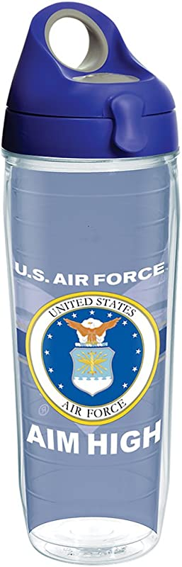 Tervis 1287294 Air Force Pride Tumbler With Wrap And Blue With Gray Lid 24oz Water Bottle Clear