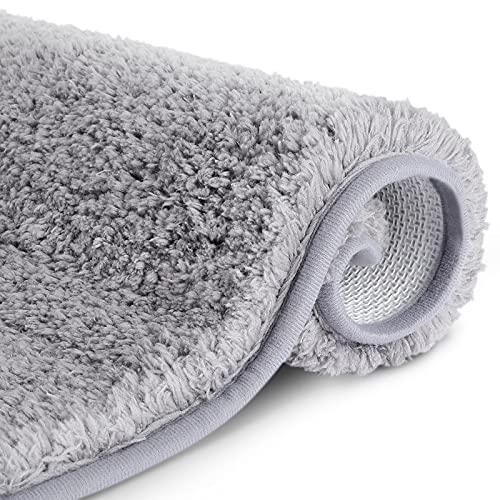 RenFox Tappeto da Bagno Assorbente Antiscivolo Tappetini per Il Bagno Morbido Tappetino Doccia Microfibra Pelo Lungo Lavabile in Lavatrice 50 x 80 x 3 cm (Grigio Chiaro)