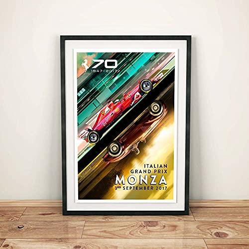 VVSUN Cartel del 70 Aniversario de Ferrari Monza 2017, Cartel de F1, Cartel de Fórmula 1, Cartel de Coche, Arte de...