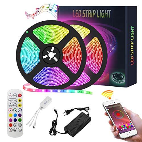 LED Strip 10m, Amycute RGB Strip Farbwechsel Flexible LED Bänder Strips mit APP Bluetooth Kontroller Sync zur Musik Anwendung für Schlafzimmer,Party und Feriendekoration[Energieklasse A+](2×5M)