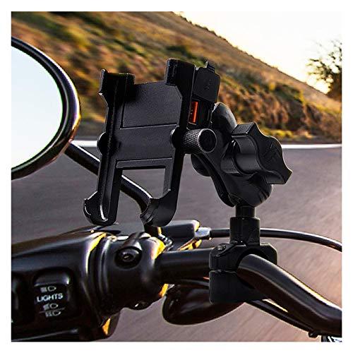 linger Soporte de teléfono a Prueba de Agua a Prueba de Agua de aleación de Aluminio con QC 3.0 Cargador rápido Teléfono móvil GPS Titulares Soporte Accesorio de Motocicleta (Color : Black)