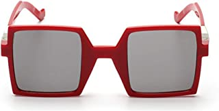 LUKEEXIN Personality Square Shape Sunglasses UV Protection for Outdoor Driving Travelling Summer Beach (Color : Red)