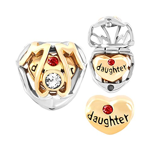 Lifequeen Heart Love Charms Mom Daughter Charms Open Your Heart Beads for Bracelets