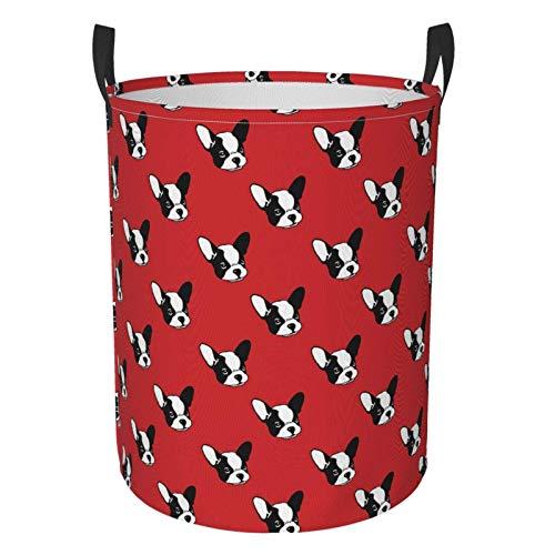 Simpatico cesto portabiancheria a tema Bulldog francese, borsa pieghevole per lavanderia, impermeabile, portatile, con indumenti sporchi, per camera da letto, bagno, dormitorio