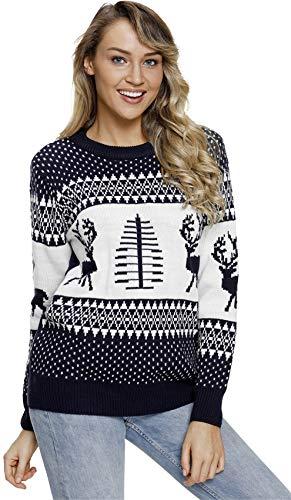 Long Sleeve Festival Christmas Eve Fair Isle Reindeer Snowflake Pullover Sweater Jumper Top Blue L