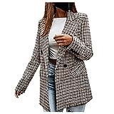 LAKOYA Longblazer Damen Blazer Lang Umlegekragen Arbeit Büro Business Revers Slim Fit Langarm Mantel Blazer Jacke mit Tasche und Tasten