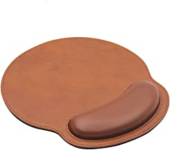 RICHEN Ergonomic PU Leather Mouse Pad with Wrist Support,Comfort Memory Foam,Waterproof Surface,Non- Slip Rubber Base for Computer Laptop & Mac,Lightweight Rest for Home,Office & Travel (Brown)