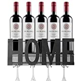 Dinaso Wall Mounted Metal Wine Rack with 4 Stemware Glass Holder & Cork Storage for Kitchen, Bar, Party, Home Decor, Dining Room, Wine Cellar