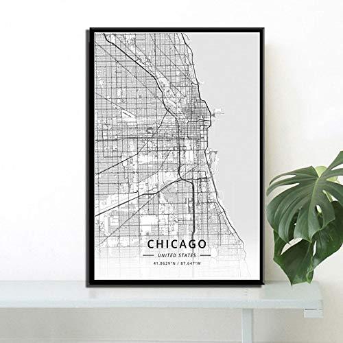 Handaxian Art Deco Arte Moderno Mapa de la Ciudad Americana Nueva York Los Ángeles Washington Miami...
