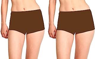 KIDLEY Women BOY Short,Panty(2PC,Large) Brown