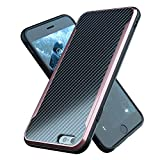 Nicexx Designed for iPhone 6 Plus Case/Designed for iPhone 6S Plus Case with Carbon Fiber Pattern, 12ft. Drop Tested, Wireless Charging Compatible - Rosegold