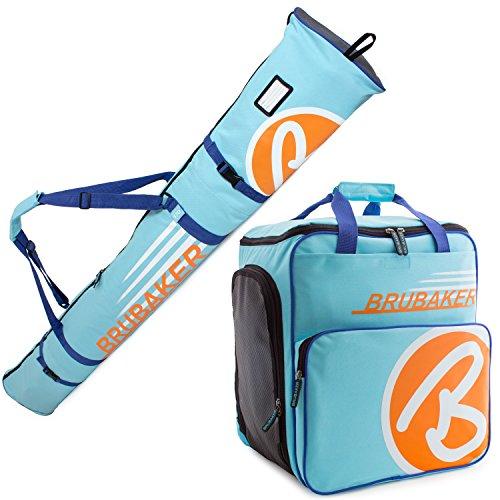 Brubaker Kombi Set Champion - Limited Edition - Skisack und Skischuhtasche für 1 Paar Ski bis 170 cm + Stöcke + Schuhe + Helm Hellblau Orange