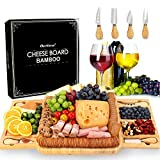 AerWo Mother's Day Bamboo Cheese Board and Knife Set, Charcuterie Board Set Large Cheese Platter Serving Tray with 2 Slide-Out Drawer 4 Knives, Gifts for Mom, Housewarming Gifts New Home, Wedding Gift
