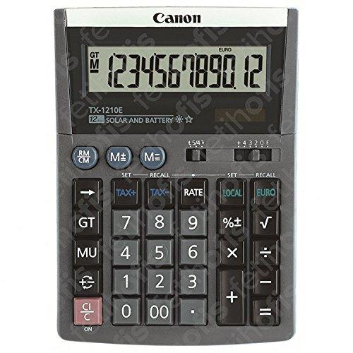Canon TX-1210E - Taschenrechner - 12 Stellen - Solarpanel, Batterie - Schwarz