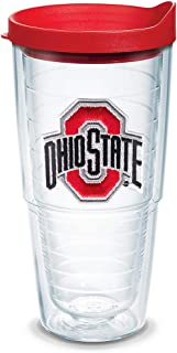 Tervis 1056615 Ohio State Buckeyes Logo Tumbler with Emblem and Red Lid 24oz, Clear
