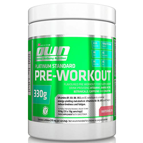 OWN - Platinum Standard Pre-Workout Energy Powder with Aminos, Caffeine and AstraGin, Watermelon Flavour, 330g (33 Servings)