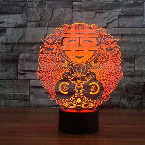 Table Lamp 3D Led Night Light Happy Character 3D Lamp Visual Light 7 Colos USB Remote Touch Table Lampara Bedroom Light for Chinese Wedding Decoration