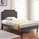 VECELO Premium Upholstered Platform Bed Diamond Stitched Panel Headboard, Metal Frame & 12 Strong Wood Slat Support, Mattress Foundation/Easy Assembly,Twin, Dark Gray