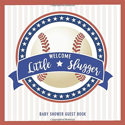 Welcome Little Slugger Baby Shower Guest Book: Baseball theme party guest book, 110 pages with 10 bonus gift log