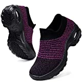 HKR Womens Walking Tennis Shoes Slip On Light Weight Mesh Platform Air Sneakers, Black/Purple US 8(ZJW1839heizi40)