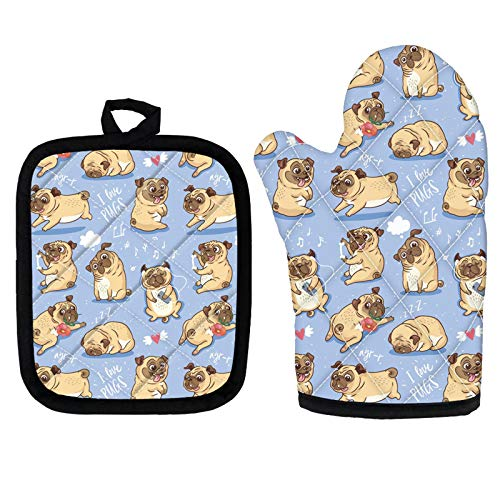 WELLFLYHOM Cute Pug Dog Print Oven Mitt and Pot Holder 2 Packs Set, Chef Cooking Gloves & Heat Resistant Square Mat, Non Slip & Easy Clean Kitchen Accessories for Women Ladies Girls