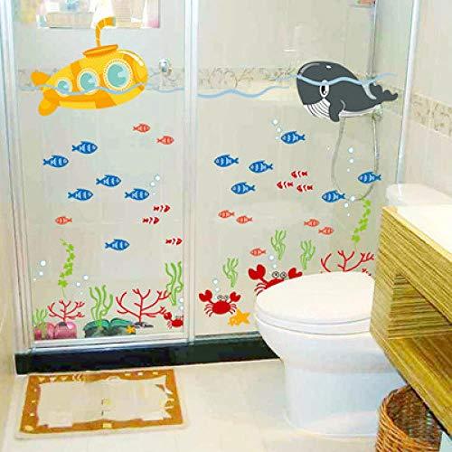 BGPOM Wandaufkleber Cartoon Unterwasserwelt Badezimmer Kinderzimmer Wand Hintergrund Dekoration Malerei Aufkleber, Df5092 Marine U-Boot