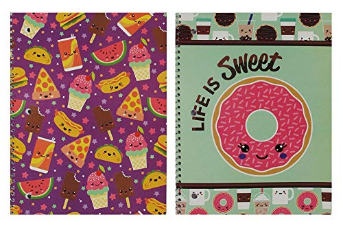 Wide Ruled Spiral Notebooks 2 pack Cute & Fun School Supplies Donuts, Sweet Treats, Ice Cream, Pizza 70 sheet