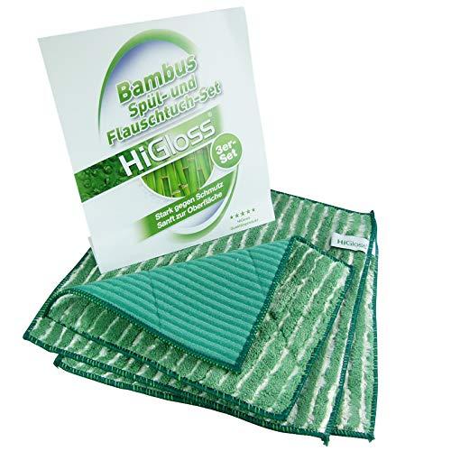 HiGloss Bambus Flauschtücher 3er Set hervorragende Schmutzlösekraft und hohe Feuchtigkeitsaufnahme