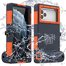 LANYOS Compatible for Samsung Galaxy and iPhone Series Professional [15m/50ft] Diving Snorkeling Photo Video Waterproof Case, Full Body with Built in Screen Protector Clear Cover (Blue-Orange)