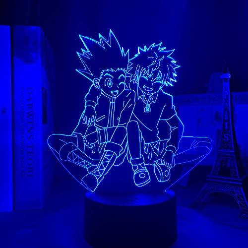 Lámpara de noche 3D de acrílico 3D Anime Hunter X Hunter Killua y Gon para dormitorio, decoración nocturna, regalo de cumpleaños LED, luz nocturna