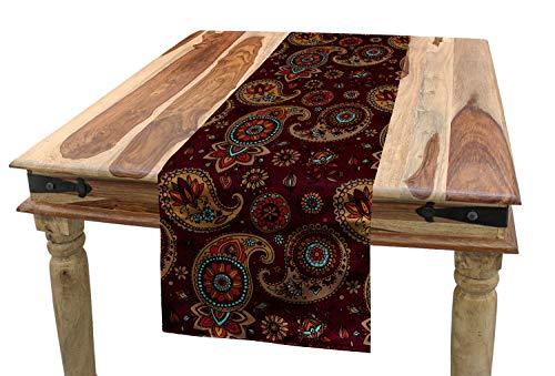 ABAKUHAUS Cachemir Camino de Mesa, Medio Oriente Tribual, Decorativo Estampado Digital Apto Lavadora No Destiñe, 40 x 225 cm, Mostaza Marrón Castaño Teal