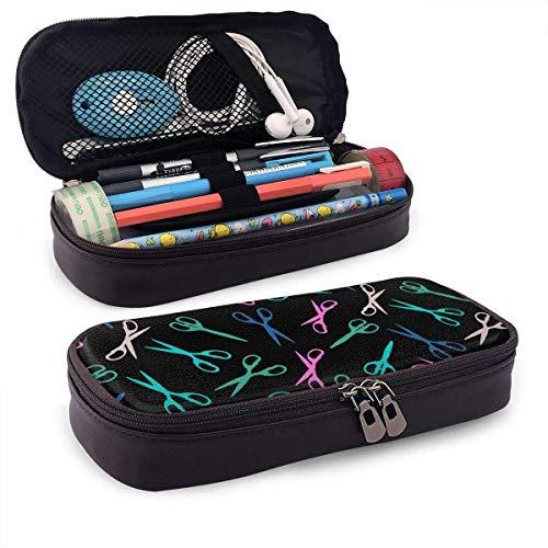 Colorido peluquero tijera PU cuero caja de lápices escuela oficina uso cremallera papelería organizador