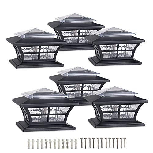 """KMC LIGHTING KS4103QTX6 Post Solar Fence Lights Solar Lamp Post Lights Outdoor Solar Post Cap Lights 20 LUMENS fit for 4"""" Regular Fence Posts or with Included Adaptor fit for Bigger Flat Surface"""