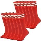Youth Baseball Socks Boys Sports Striped Tube SocksRunning Football Soccer Socks Fasoar 12 Pairs Red