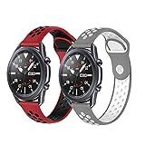 PaceBid 2 Piezas Correas Compatible con Galaxy Watch Active/Active 2 (40mm/44mm)/ Galaxy Watch 3 41mm, Resistente Banda para Huawei Watch GT 2 42mm/Amazfit Bip/Bip Lite/GTR 42mm (Red+Gray)