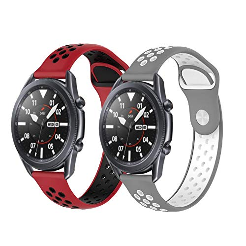 PaceBid 2 Piezas Correas Compatible con Galaxy Watch Active/Active 2 (40mm/44mm)/ Galaxy Watch 3 41mm, Resistente Banda para Huawei Watch GT 2 42mm/Amazfit Bip/Bip Lite/GTR 42mm (Red+Gray)