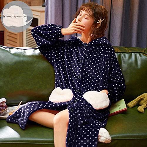 JJYY Invierno Coral Fleece Polk Dot Robe Albornoz para Mujer Albornoz para Mujer Camisón Batas Rojas Ropa de Dormir Ropa de casa, b, L