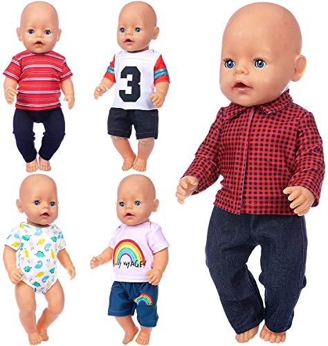 ZITA ELEMENT 5 Sets14-16 Inch Baby Doll Clothes Outfits Pajamas for 43cm New Born Baby Dolls, 15 Inch Bitty Baby Doll Clothes, American 18 Inch Girl Doll