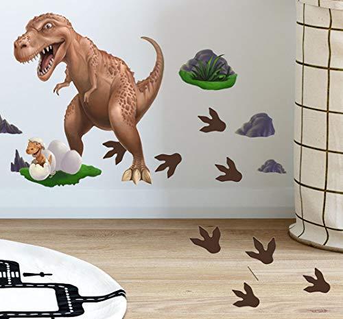 Dinosaur Wall Stickers T-Rex Daddy n Baby Footprints Wall Decals, Boys Wall Stickers, Kids Room Decorative Peel & Stick Wall Art Bedroom, Playroom, DIY Easy Peel n
