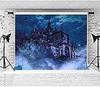 HD恐ろしい城の背景EARVO7x5ft夜空コウモリ写真の背景ハロウィーンをテーマにしたパーティー綿の背景(しわ抵抗)スタジオ写真小道具LHEA052