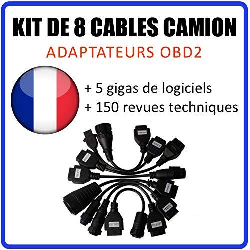 MISTER DIAGNOSTIC Kit de 8 câbles/adaptateurs pour véhicules Poids-Lourds