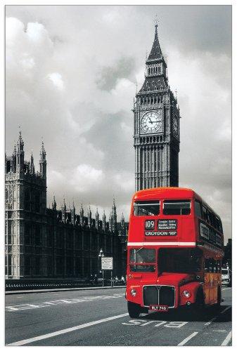 Artopweb London bus Westminster 60x90 cm decoratief paneel, MDF (middeldichte vezelplaat), papier, veelkleurig