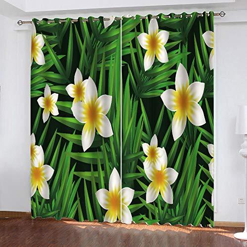 cortinas habitacion flores verde y amarillas