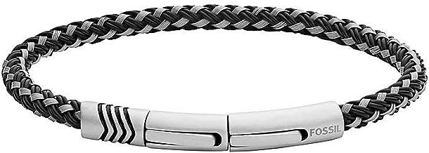 [男性用ブレスレット]Fossil 32012535 Men's Bracelet Stainless Steel/Perlon/Nylon One Size Silver[並行輸入品]