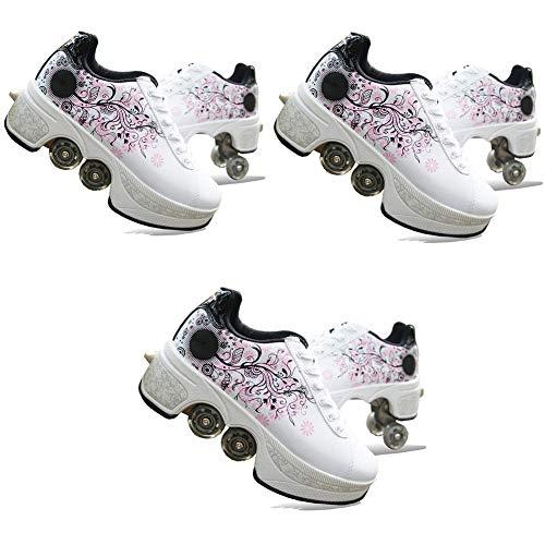 NNZZY Multifunktionale Deformation Schuhe (3 Paare) Quad Skate Rollschuhe Skating Outdoor Sportschuhe für Erwachsene, White, 38