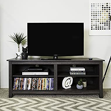 WE Furniture 58  Wood TV Stand Storage Console, Charcoal