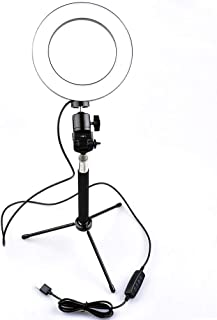 Lightdow Photography Dimmable LED Selfie Ring Light + Selfie Stick + Mini Tripod, 3500-5500k / USB Powered for Make-up YouTube Live Video Streaming Photo Lighting (25cm LED Ring Light)