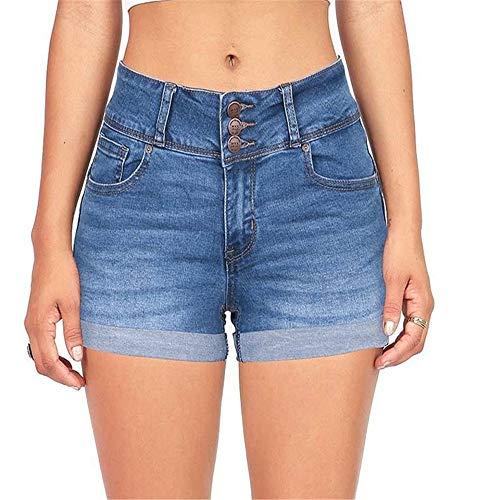HNOSD Shorts Jeans Mujer Shorts de algodón Jeans Cintura Alta Flaco Color Liso Lavado Liso Short Mini Jeans Shorts de Mezclilla